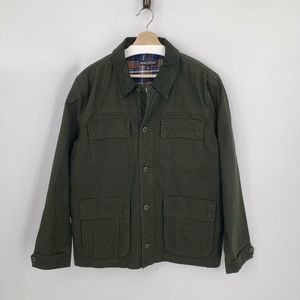 New J.CREW Flannel Lined Barn Jacket Green